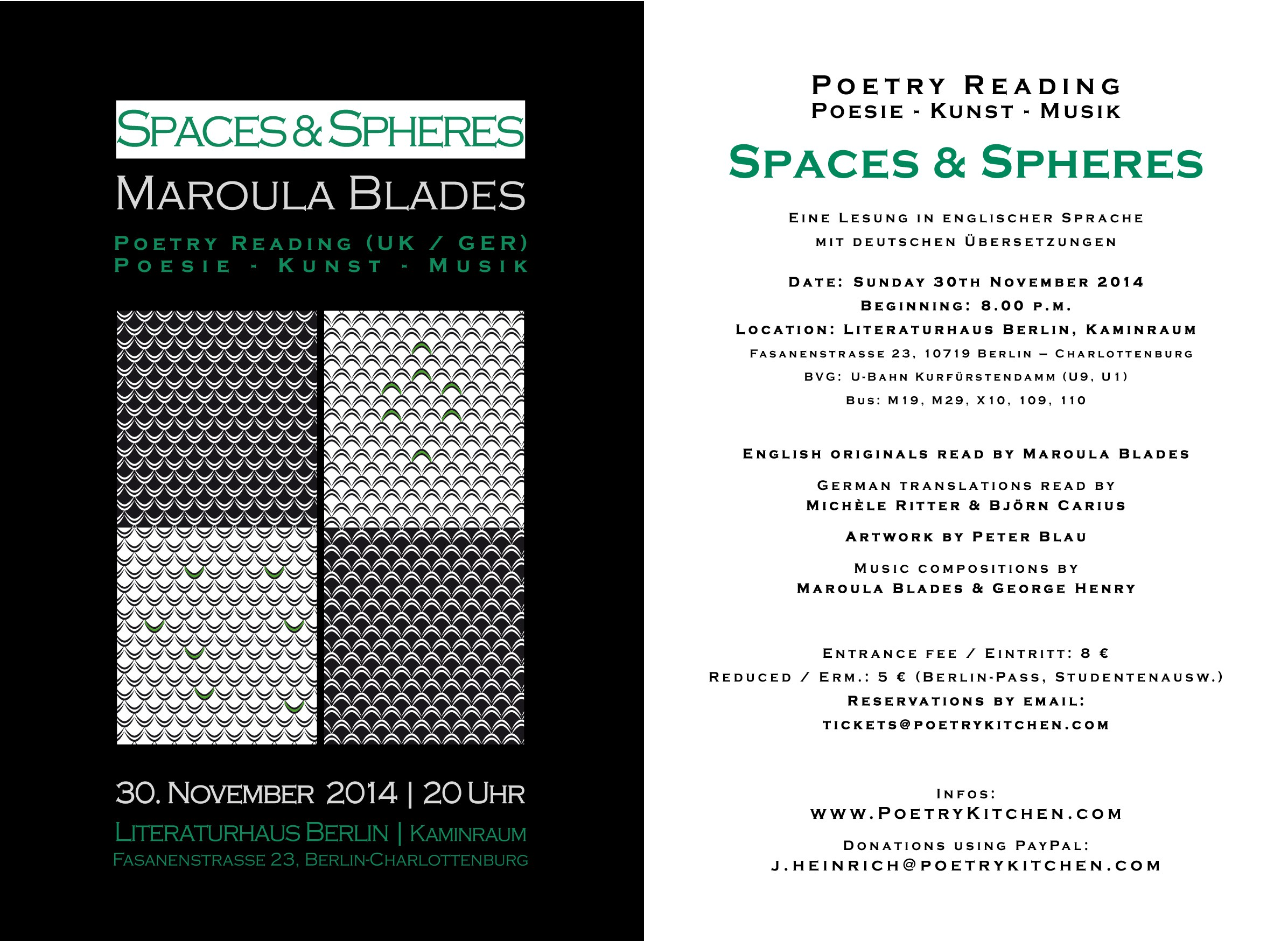 email flyer - Maroula Blades - SPACES & SPHERES