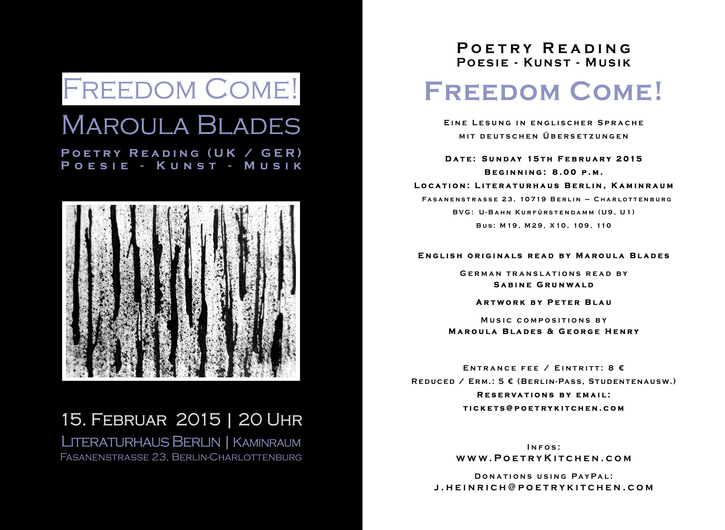 email flyer - Maroula Blades - FREEDOM COME