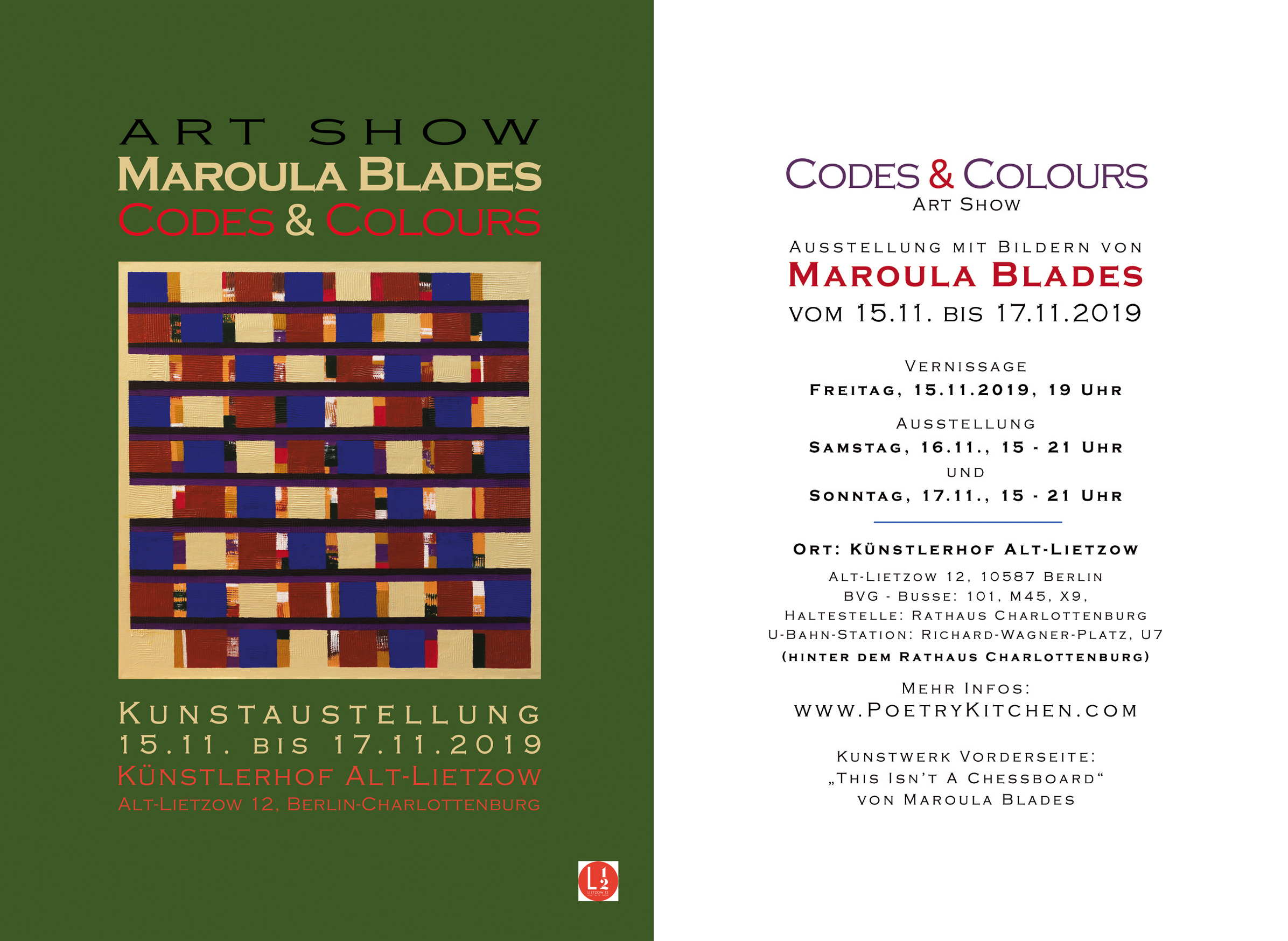 email flyer - Maroula Blades - CODES & COLOURS